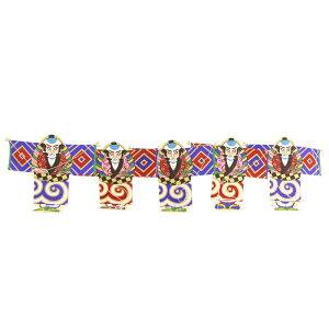 インテリア 手描き【和凧】小型連凧(五連) 縦20×横20cm【福-132】奴凧 お正月飾り