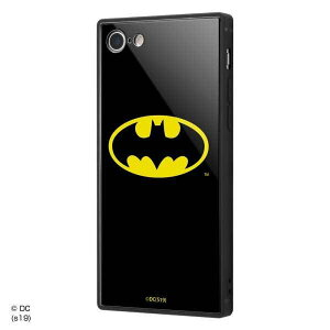 iPhone SE(第2世代)/8/7 耐衝撃ケース バットマン ロゴ ガラスカバー スクエア 四角 保護 おしゃれ カッコイイ 可愛い IQ-WP7K1B-BM001