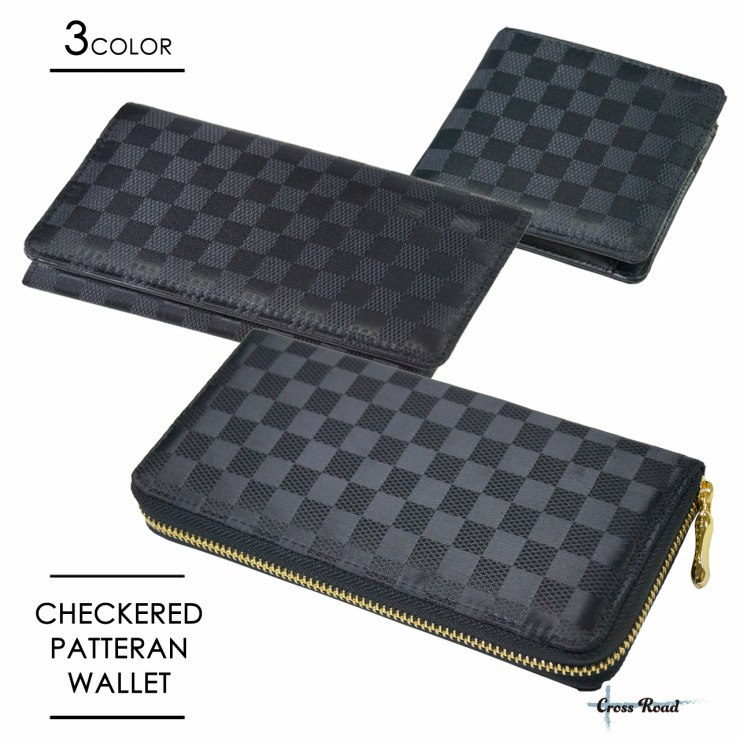 ラウンドファスナー 長財布 二つ折り チェック柄 ジャガード 財布 市松模様 格子 メンズ レディース