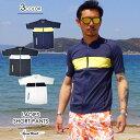 ラッシュガード 半袖 メンズ AQA (エーキューエー) シーラックス スイムジップショート メンズ 水着 UVブロック 紫外線防止 日焼け防止 リゾート 海外旅行