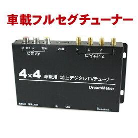 車載 4×4 フルセグチューナー 地デジチューナー「TUF005」[DreamMaker] カーテレビ カーTV フルセグテレビ 地デジテレビ 車載モニター ワンセグチューナー HDMI 24V