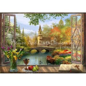 クロスステッチ キット 上級者 全面刺し 風景 Autumn Church Frame-Heaven And Earth Designs(HAED)