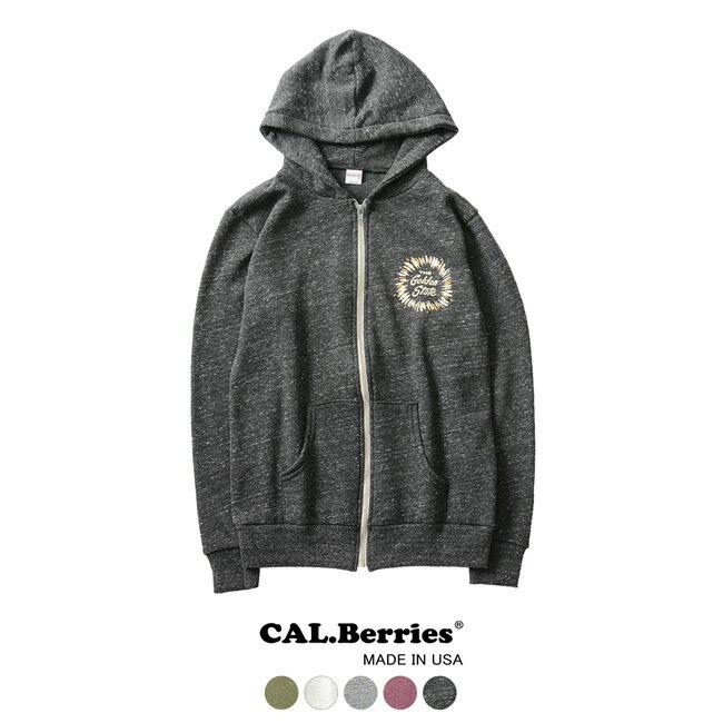 【クーポン20%OFF】【SALE!60%OFF】CAL.Berries カルベリーズ FLEECY GOLDEN STATE 裏起毛 ジップアップ パーカー・35TF001GS #1010【セール】【返品交換不可】【SALE】