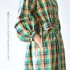 ジャンヌレ JEAN_NERET Madras check gown dress V neck long dress, #0222 in the spring and summer latest JNH19-C058 2019
