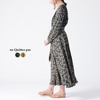 #0306 latest in ヌキテパ ne Quittez pas FLOWER PRINT LONG DRESS flower print long dress dress classical retro .010491547 2019 spring and summer