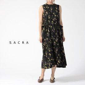 5bad1d139c06e サクラ SACRA フラワープリント ノースリーブ ロングワンピース ドレス ・119206041  送料無料 2019春