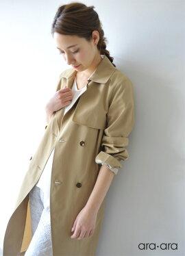 ara・araアラアラツイルロングトレンチコート・161001【2016春夏】【送料無料】