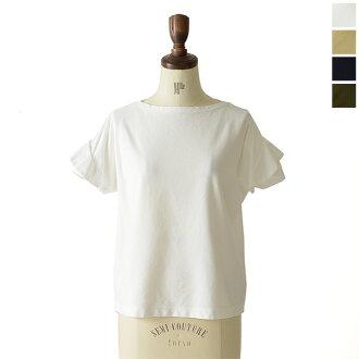 SACRA sakuratsuirujajifureasuribu素色棉布一字領套衫、sg264021