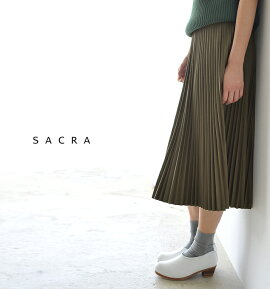 SACRAサクラフェイクレザーロングプリーツスカート・sg513121【2016秋冬】【送料無料】