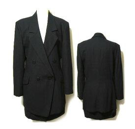 CHRISTIAN AUJARD クリスチャンオジャール 黒 プレーンセットアップスーツ (ジャケット スカート) 020533 【中古】