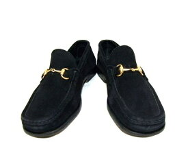 GUCCI 「35 1/2」 黒ゴールドビットスエードレザーローファー (Black gold bits Suede leather loafers) グッチ シューズ ブーツ 042605 【中古】