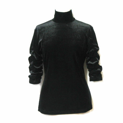 Jean Paul GAULTIER FEMME ジャンポールゴルチエ フェム 「40」 黒ベルベット変形カットソー (ゴルチェ ファム Tシャツ ニットセーター) 049562 【中古】