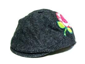 【未使用】 mu cha cha ムチャチャ 「S」 フラワー刺繍ハンチング (キャップ 帽子 ハット KIDS キッズ) 053171 【中古】