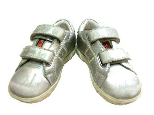 PRADA SPORT プラダ スポーツ 「15」 シルバーベルクロスニーカー (キッズ 子供靴シューズ) 057489 【中古】
