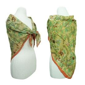 80's vintage MOGA Flower kilt silk scarf 80年代 ヴィンテージ モガ フラワーキルトシルクスカーフ 065204 【中古】