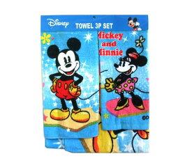 新品同様 Disney MIKEY MOUSE & MIKEY MOUSE Towel 3set限定 ディズニー ミッキーマウス ミニーマウス タオル 3セット 068344 【中古】