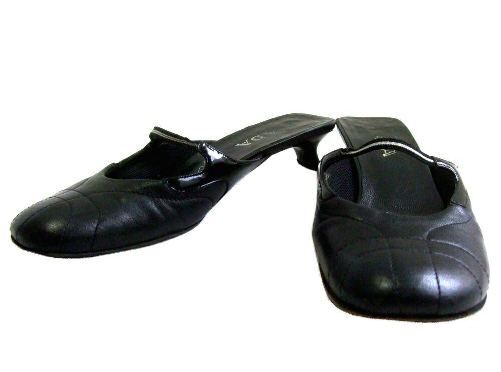 PRADA プラダ イタリア製 ワンストラップサンダル (ミュール パンプス 靴シューズ) 074048 【中古】