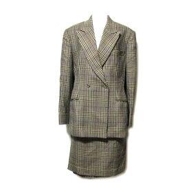 ETRO エトロ 「44」 イタリア製 クラシックチェックセットアップスーツ (スカート ジャケット) 078049 【中古】