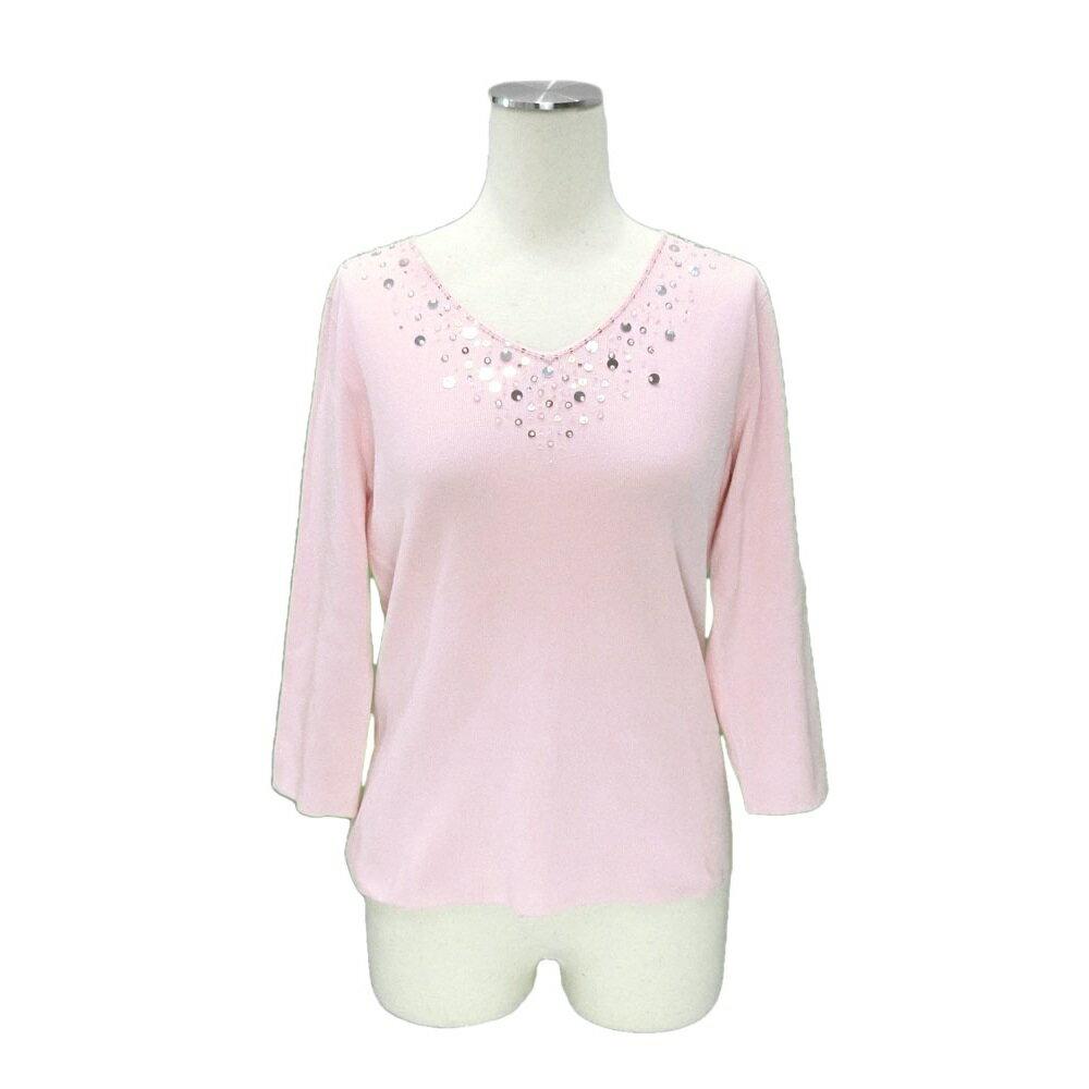 美品 courreges クレージュ 「9」 スパンコール 七分袖セーター (Vネック ニット) 078670 【中古】