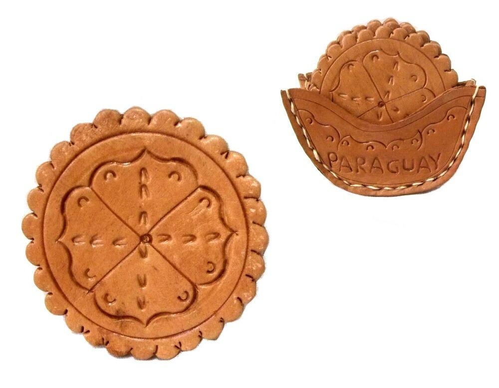 【新古品】 Paraguay Hand Made パラグアイ ハンドメイド レザーコースター 5枚セット (Mate tea マテ茶) 080675 【中古】