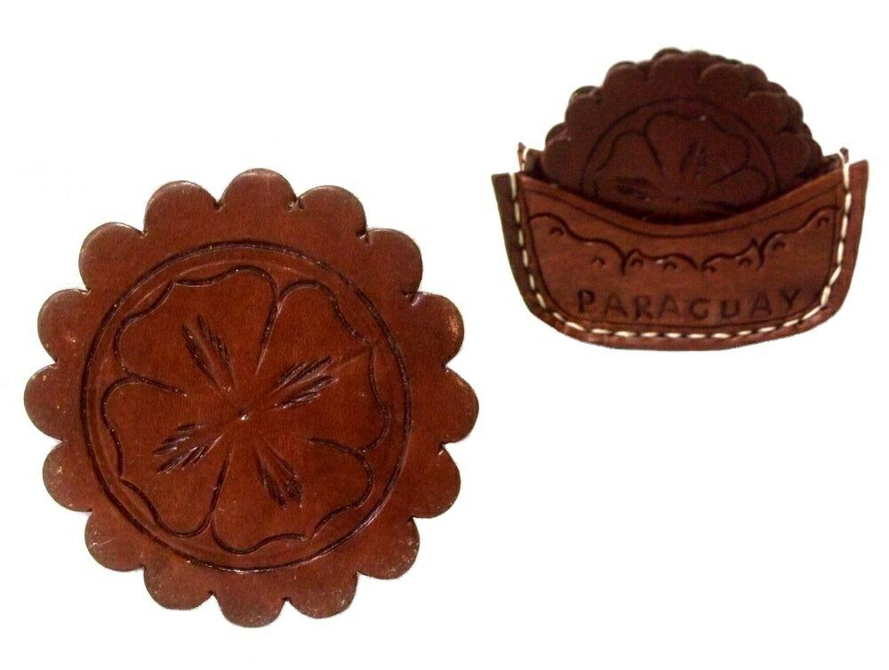 【新古品】 Paraguay Hand Made パラグアイ ハンドメイド レザーコースター 5枚セット (Mate tea マテ茶) 080676 【中古】