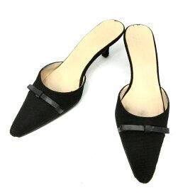 kate spade ケイトスペード 「6」 黒レザーリボンミュール サンダル (靴シューズ) 084935 【中古】