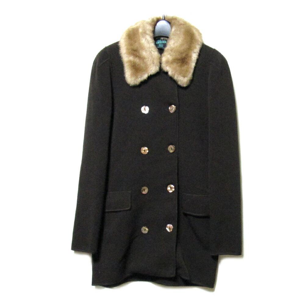 Jean Paul GAULTIER ジャンポールゴルチエ MAILLE 「40」 イタリア製ファー付デザインPコート (ゴルチェ ジャケット) 087799 【中古】