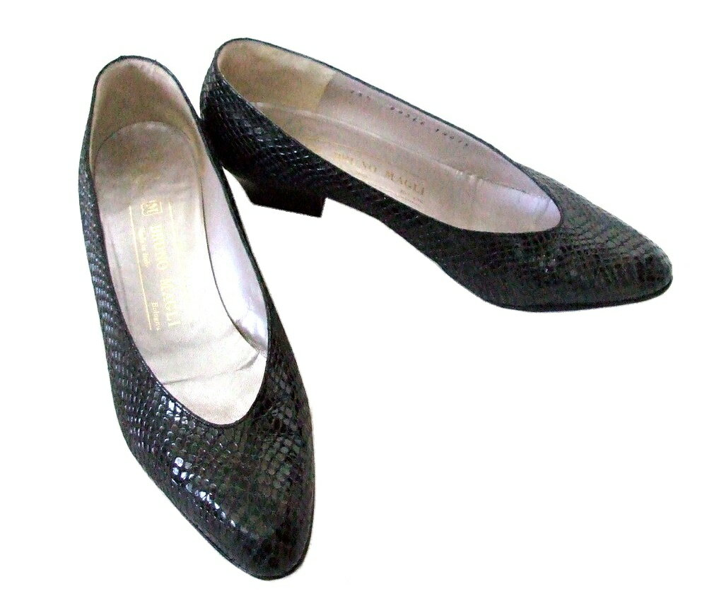BRUNOMAGLI ブルーノ マリ 「35 1/2」 イタリア製デザインヒールパンプス (靴 シューズ 革 皮 黒) 093674 【中古】
