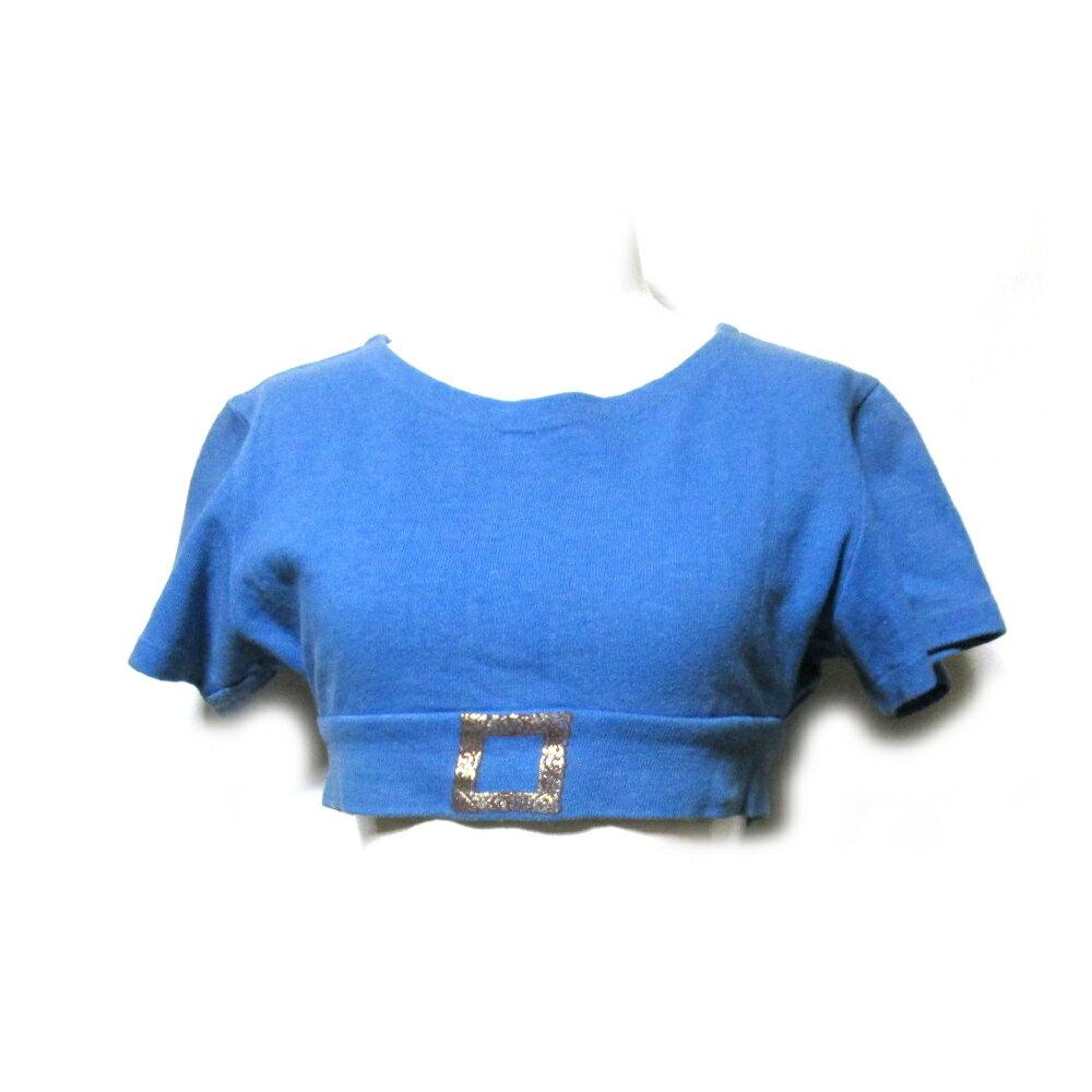 難有 [SALE] Vintage Vivienne Westwood ヴィンテージ オールド ヴィヴィアンウエストウッド 「S/M」 イギリス製 ショート丈額縁ニットセーター (青 半袖) 099840 【中古】