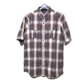 美品 uu uniqlo×undercover アンダーカバー ユニクロ 「M」 限定 デザインチェックシャツ (赤 半袖) 100045 【中古】