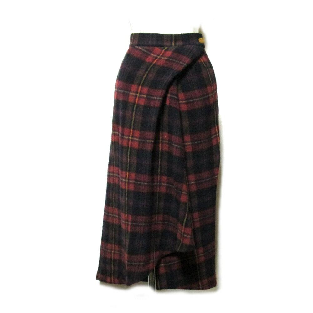 Vivienne Westwood RED LABEL ヴィヴィアンウエストウッド レッドレーベル 「38」 イタリア製 タータンチェックアシンメトリーロングスカート (赤) 101541 【中古】