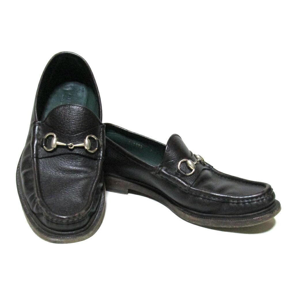 GUCCI グッチ 「7」 イタリア製 レザービットローファー (茶色 革 皮 靴 シューズ) 101544 【中古】