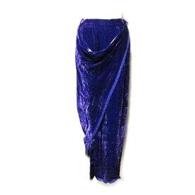 美品 Vivienne Westwood GOLD LABEL ヴィヴィアンウエストウッド ゴールドレーベル 「UK10」 イタリア製 アシンメトリードレープロングスカート (パープル 紫 ロング丈) 101707 【中古】