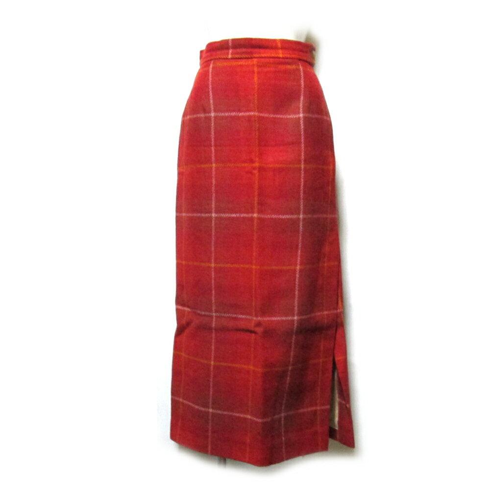 Vivienne Westwood ヴィヴィアンウエストウッド 「40」 イタリア製 タータンチェックツイードロングスカート (赤) 101728 【中古】