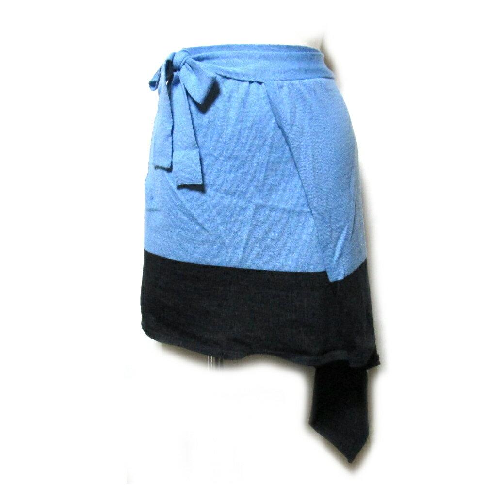 Vivienne Westwood ヴィヴィアンウエストウッド 「M」 イタリア製 バイカラ—ニット巻きスカート (水色 黒) 101730 【中古】
