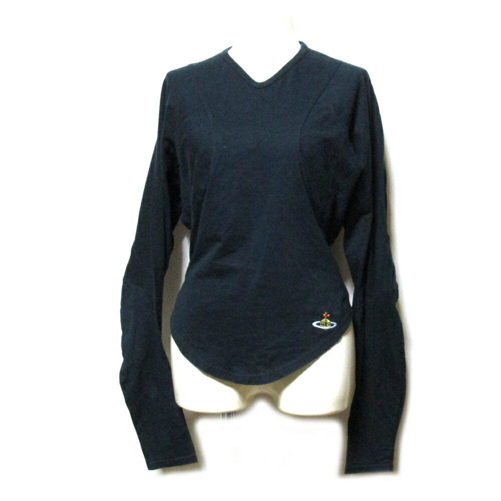 Vivienne Westwood RED LABEL ヴィヴィアンウエストウッド レッドレーベル イギリス製 立体変形ワンオーブカットソー (黒 ORB Tシャツ 長袖) 101874 【中古】