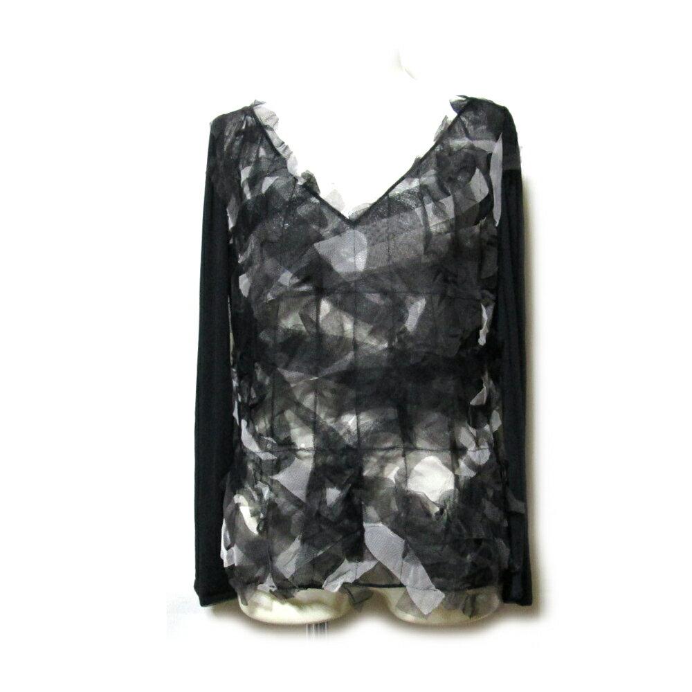 難有 [SALE] FENDI フェンディ 「44」 イタリア製 シースルーフリルカットソー (黒 Tシャツ 長袖) 102468 【中古】