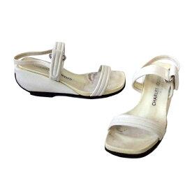 CHARLES JOURDAN シャルル ジョルダン 「5 1/2」 デザインレザーサンダル (白 靴 シューズ ATTITUDE) 102560 【中古】