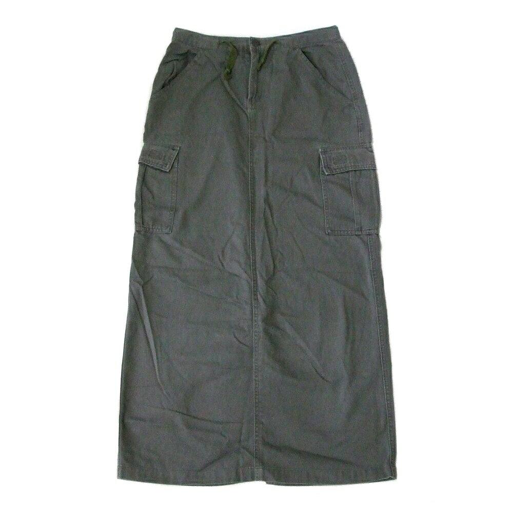 GUESS ゲス 「S」 ミリタリーカーゴスカート (カーキ ロング コットン) 103172 【中古】