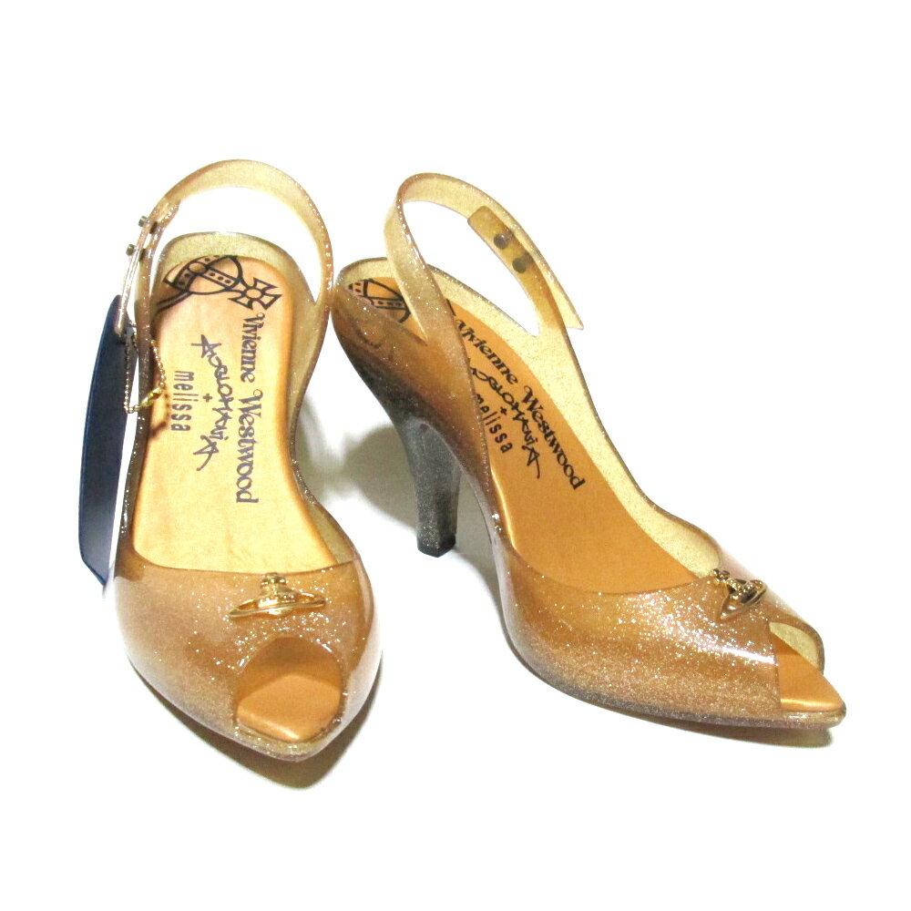 【新古品】 Anglomania Vivienne Westwood×melissa アングロマニア ヴィヴィアンウエストウッド×メリッサ 「USA6」 ラメヒールサンダルシューズ (ゴールド パンプス 靴) 103402 【中古】