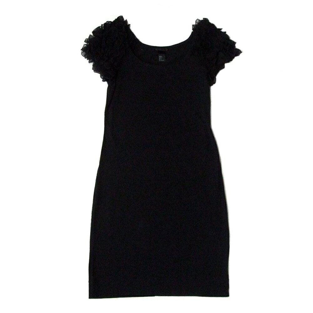 H&M エイチアンドエム フリルデザインワンピース (黒 フォーマル ドレス) 103506 【中古】
