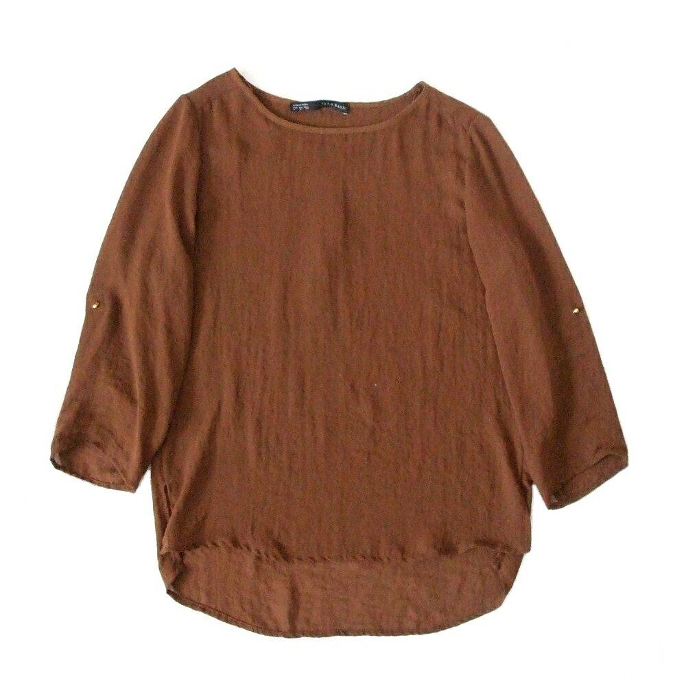 ZARA ザラ シフォンカットソー (茶色 長袖 Tシャツ) 103580 【中古】