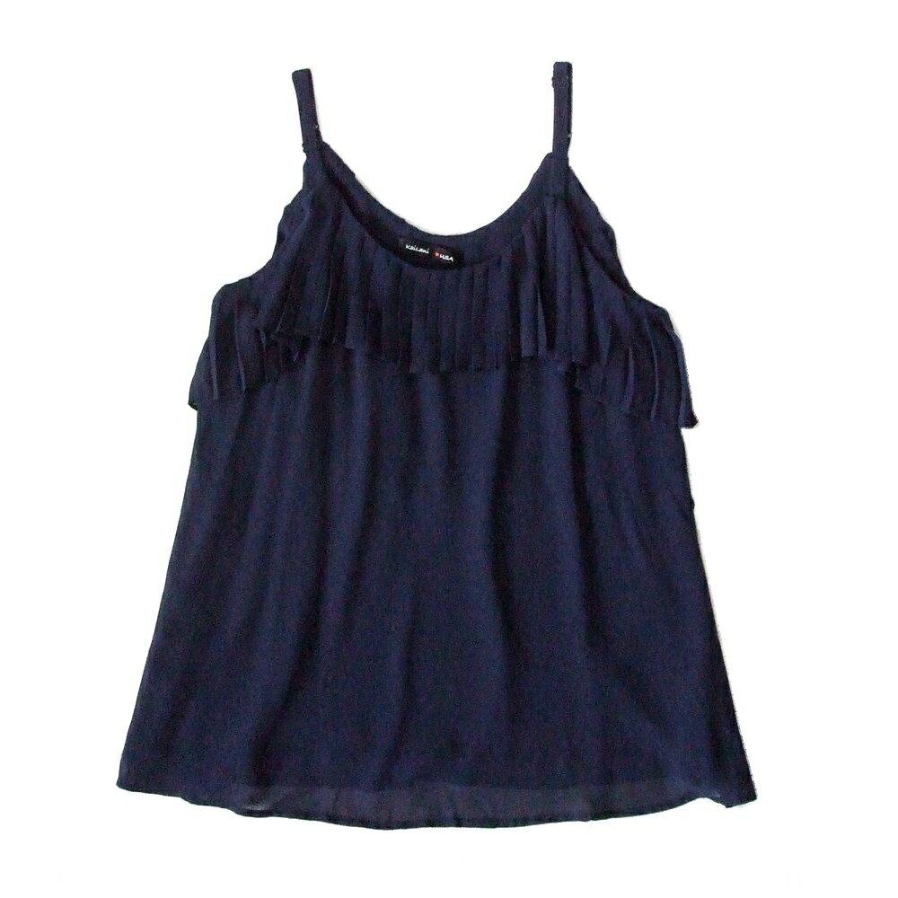Kai Lani USA カイラニ プリーツカットソー (紺 ネイビー Tシャツ) 103591 【中古】