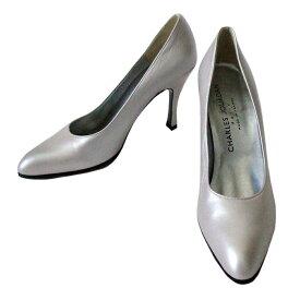 【新古品】 CHARLES JOURDAN シャルル ジョルダン 「8 1/2」 フランス製 レザーヒールパンプス (シルバー 皮 革 靴 シューズ) 103842 【中古】