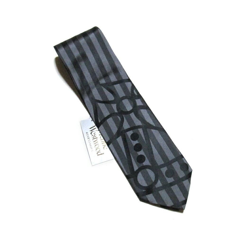 廃盤 Vivienne Westwood ヴィヴィアンウエストウッド オーブストライプネクタイ (黒 シルク 絹) 104175 【中古】