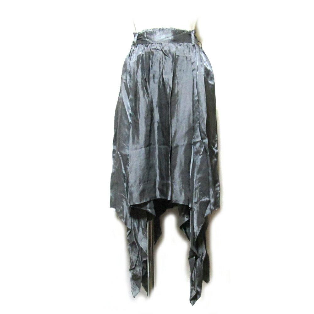 【新古品】 Anglomania Vivienne Westwood アングロマニア ヴィヴィアンウエストウッド 「42」 イタリア製 変形ドレープデザインスカート (グレー アシンメトリー) 104321 【中古】