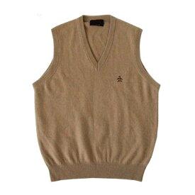 Munsing wear マンシング ウェア カシミヤ100%ニットベスト (キャメル セーター ゴルフ アメリカ) 104560 【中古】