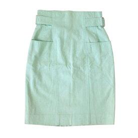 courreges クレージュ コットンデザインスカート (ライムグリーン) 104662 【中古】