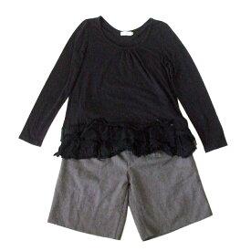 LEPSIM LOWRYS FARM レプシィム ローリーズファーム 「M」 グレー ハーフパンツ.フリルTシャツ 2枚セット (ショートパンツ 黒 Tシャツ 長袖) 104669 【中古】