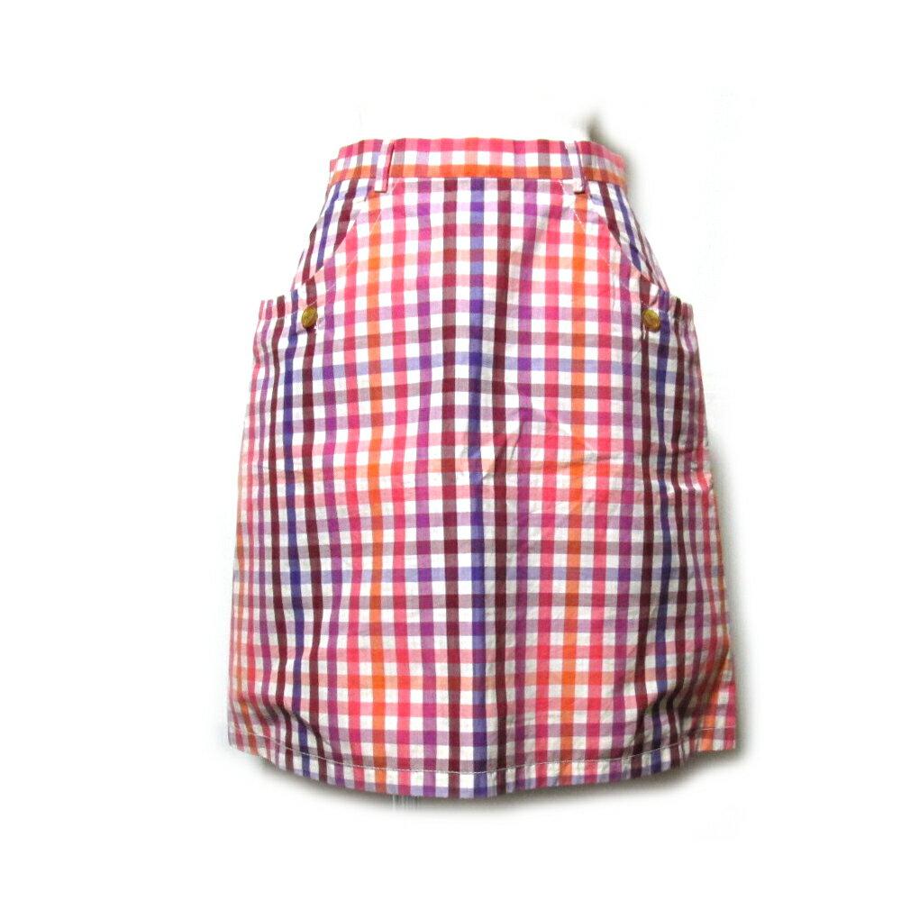 美品 Vivienne Westwood RED LABEL ヴィヴィアンウエストウッド レッドレーベル 「42」 イタリア製 チェックパターンスカート (オレンジ ラウンド) 104709 【中古】